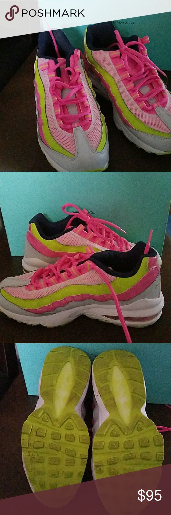 Air Max 95 Neon yellow, blue, pink and white Air Max 95 Nike Shoes Sneakers