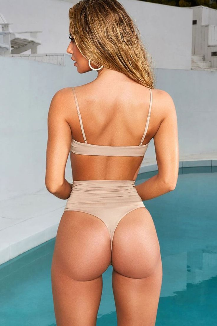 HIGH WAISTED DRAWSTRING RUCHED THONG BIKINI – TWO PIECE SWIMSUIT – beige L