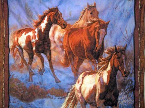 Wild Horse Herd Puffed 3 D Quilted Wall Hanging 30 x by naturepoet, $90.00