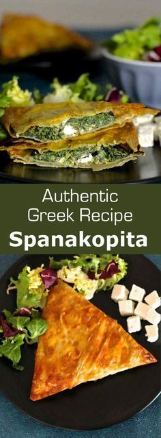 Spanakopita is a famous traditional Greek recipe which consists of a phyllo dough based pie stuffed with spinach and herbs. #Greek #vegetarian #196flavors
