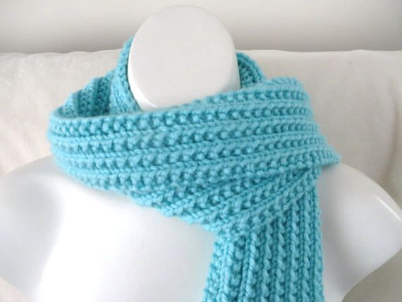 Robins Egg Blue Scarf Hand Knit Pale Blue Scarf Rib Knitted