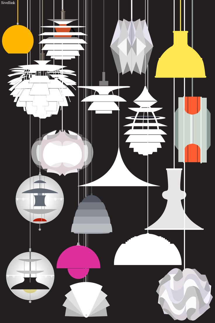 danish lighting sketch - PH, Panton, NormannCopenhagen, Bang, LeKlint, Jacobsen, Fog, Karlby, Utzon - illustration by Sivellink