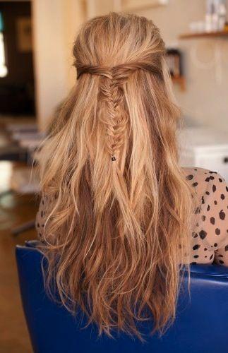 fishtail: Diy Hairstyles, Braids Hairstyles, Fish Tail, Wedding Hair, Straight Hair, Long Hair, Fishtail Braids, Hair Style, Hair Color