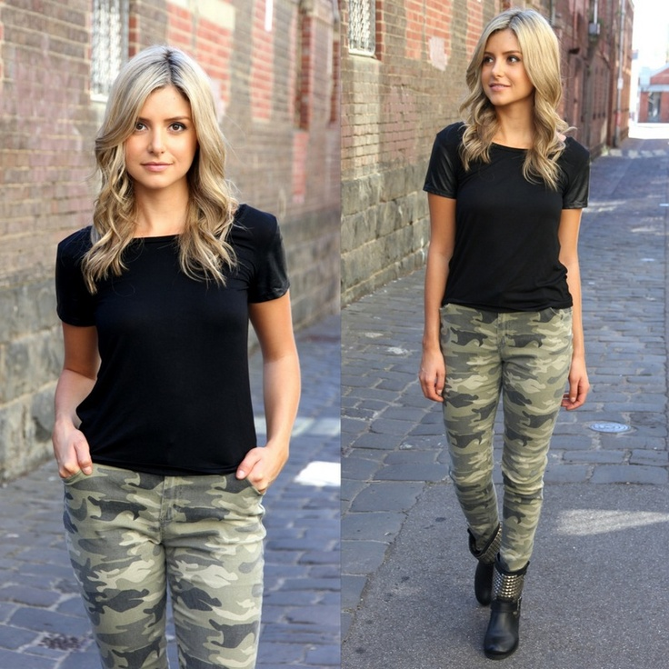 Camo pants + black tee + black boots...got into my camo pants this morning- yippee!