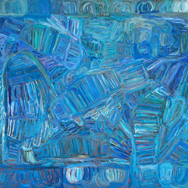 Sonia Kurrara, Martuwarra, Acrylic on canvas, 160 x 160 cm. ReDot Fine Art Gallery, Singapore.