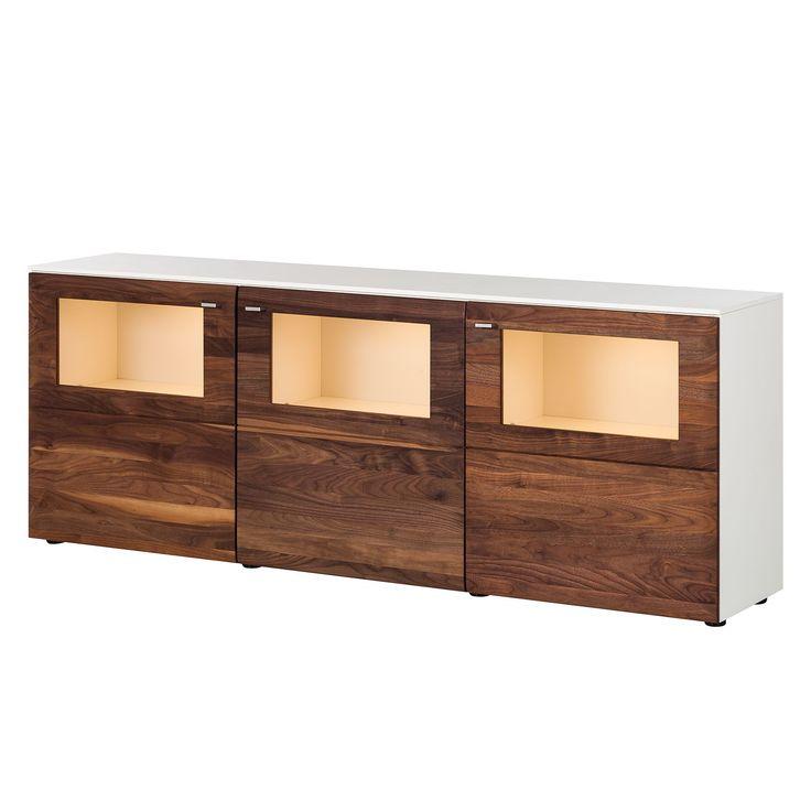 Sideboard Solano II - Mit Beleuchtung - Nussbaum / Weiß Jetzt bestellen unter: https://moebel.ladendirekt.de/wohnzimmer/schraenke/sideboards/?uid=bf17ed96-a6e7-5dd7-af86-b945c6052b21&utm_source=pinterest&utm_medium=pin&utm_campaign=boards #schraenke #wohnzimmer #sideboards