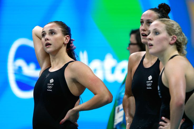 Chloe Tutton, Siobhan-Marie O'Connor and Georgia Davies of Great Britain react in the Women's 4 x 100m Medley Relay heat on Day 7 of the Rio 2016 Olympic Games at the Olympic Aquatics Stadium on August 12, 2016 in Rio de Janeiro, Brazil.