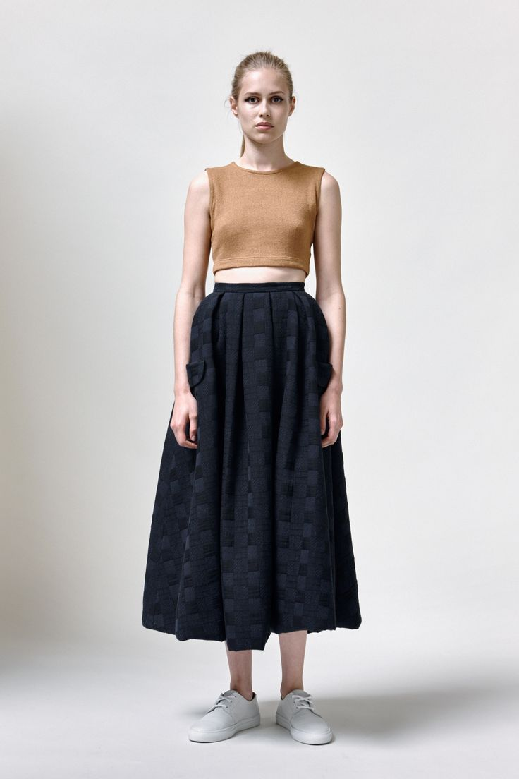 Pepita Top, Neela Skirt and Leather Sneakers | Samuji SS16 Seasonal Collection