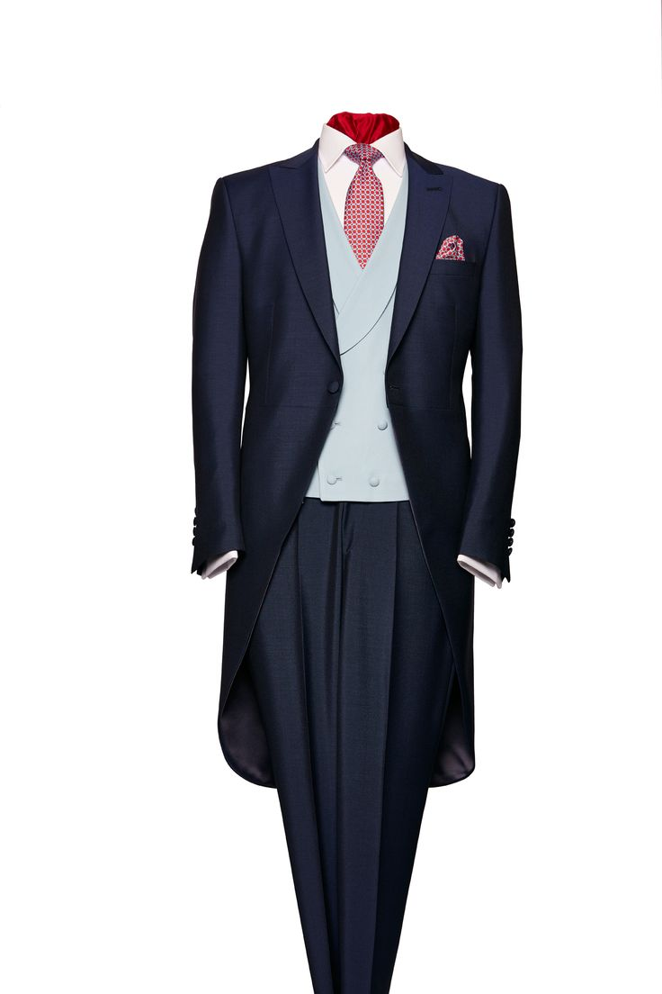 Navy blue mohair and wool morning suit - click here to zoom