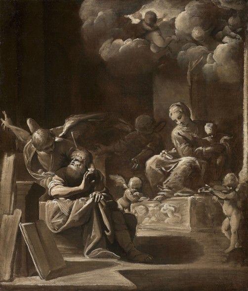 Bartolomeo Schedoni (Modena 1578 - Parma 1615) La Santa Famiglia e l'Angelo 94 x 78 cm Il personaggio di questo dipinto monocromo, certamente uno « schizzo » per una composizione più grandiosa, rappresenta San Giuseppe nel momento in cui appare un angelo per rassicurarlo sulla natura divina della gravidanza di Maria Vergine.