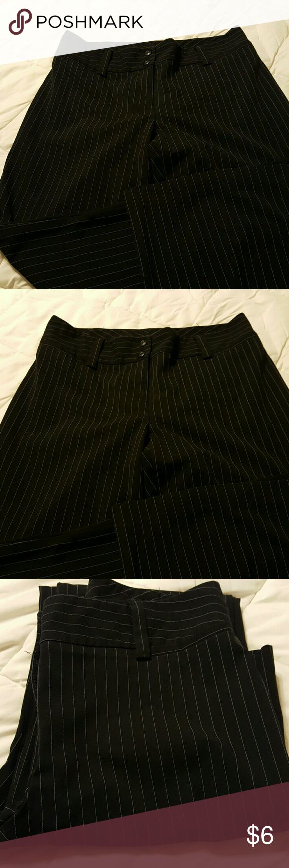 Black and white pinstripe slacks Black and white slacks. One hem needs to be sewn, otherwise fine condition. AB Studio Pants Trousers