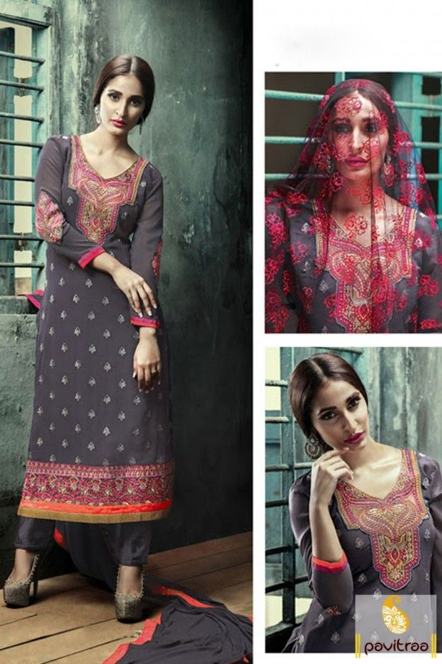 Grey Color Santoon Straight Cut Salwar Suit #salwarsuit, #pakisatnidress more: http://www.pavitraa.in/catalogs/embroidered-straight-salwar-kameez-collection/?utm_source=rn&utm_medium=pinterestpost&utm_campaign=10jun more:  EID Festival Special Offer:  Buy 2 Products - Flat 5% off Buy 4 Products or more - Flat 10% off Buy 6 Products or more - Flat 15% off