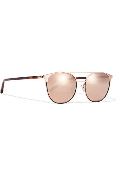 Linda Farrow - Cat-eye Rose Gold-plated And Acetate Mirrored Sunglasses - Pink