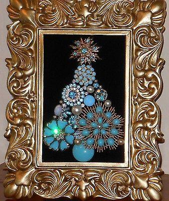 Vintage Jewelry Framed Christmas Tree Turquoise Diamonds & Pearls on ebay