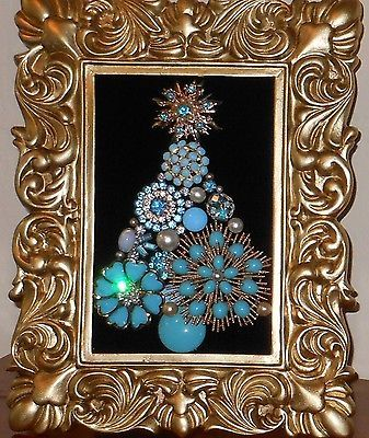 Vintage Jewelry Framed Christmas Tree Turquoise Diamonds & Pearls on ebay