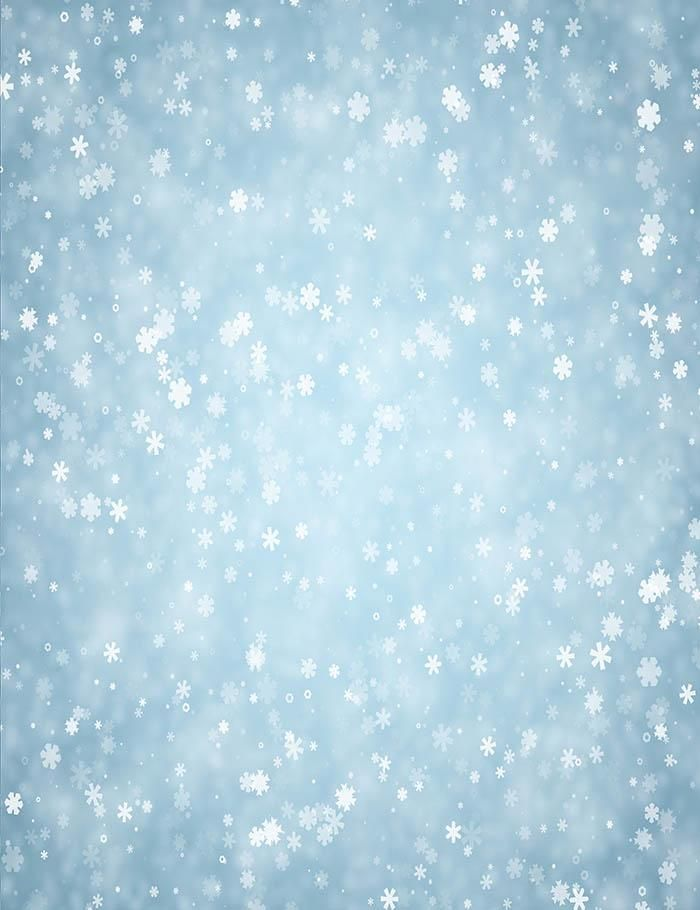 blue winter background with snowflakes pattern photography