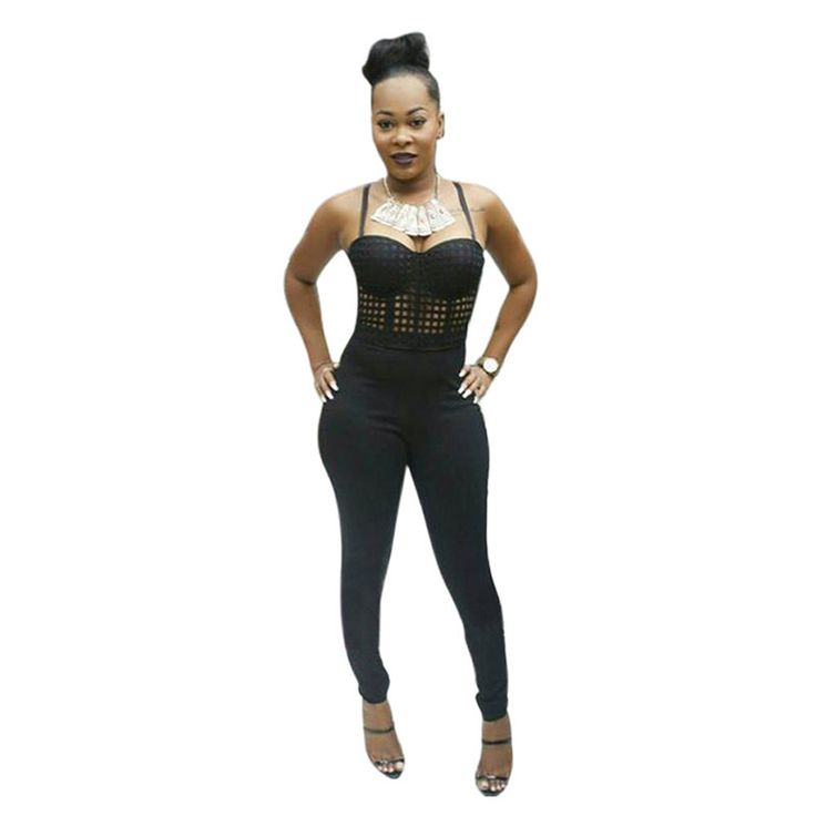 Plus Size Women Black Bodysuit Sexy Rompers Womens Jumpsuit Spaghetti Strap Strapless Full Length Bodycon Ladies Jumpsuits