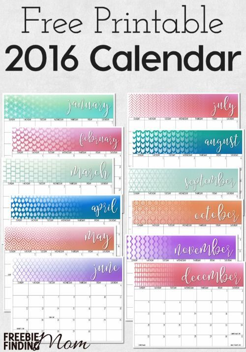 Get organized in the New Year with the help of this 2016 FREE Printable Calendar download. Here you'll find all 12 monthly calendars with all the major holidays already marked. Use these calendars for meal planning, homeschooling, blogging, or just to record your family's appointments and activities.