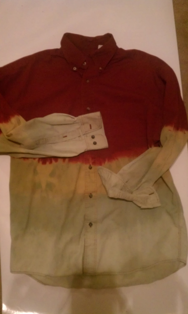 Simple red button-up turned into an ombre/bleach dip dyed button up. Also purchased at good will for no more than $3.
