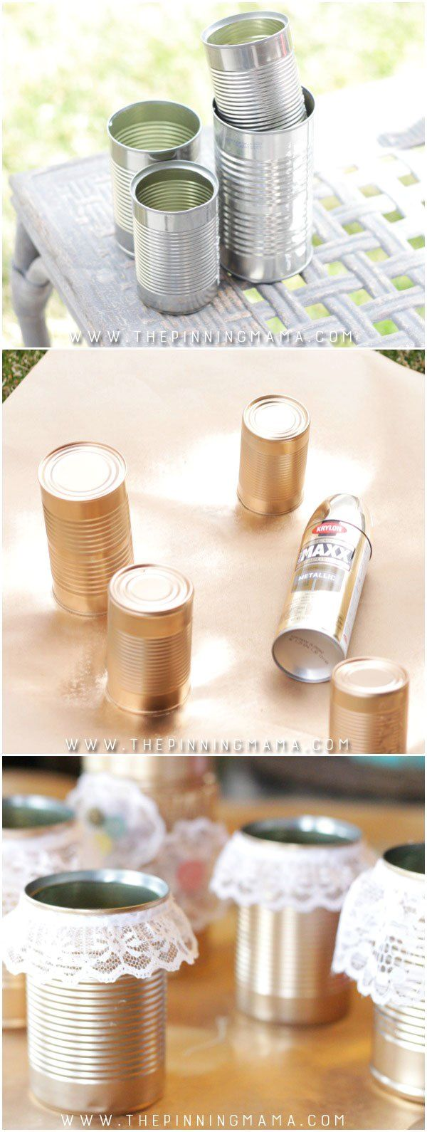 Spray paint tin cans gold and glue