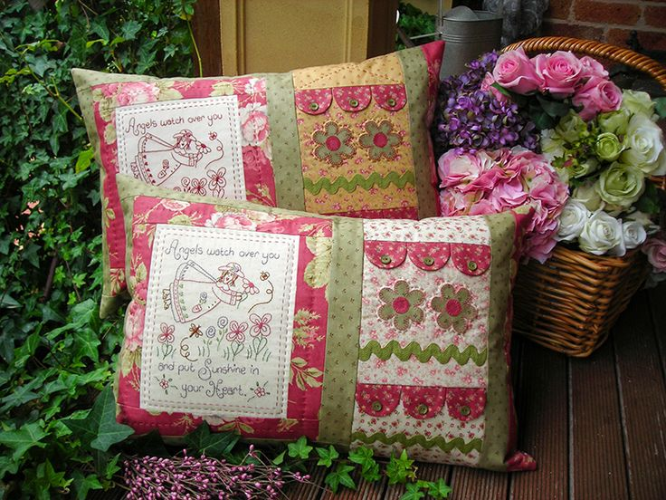 """""""Angels"""" by Sally Giblin of The Rivendale Collection. Verse reads: Angels watch over you and put sunshine in your heart. Finished cushion size: 14½"""" x 22"""" #TheRivendaleCollection stitchery, appliqué and patchwork patterns. www.therivendalecollection.com.au"""
