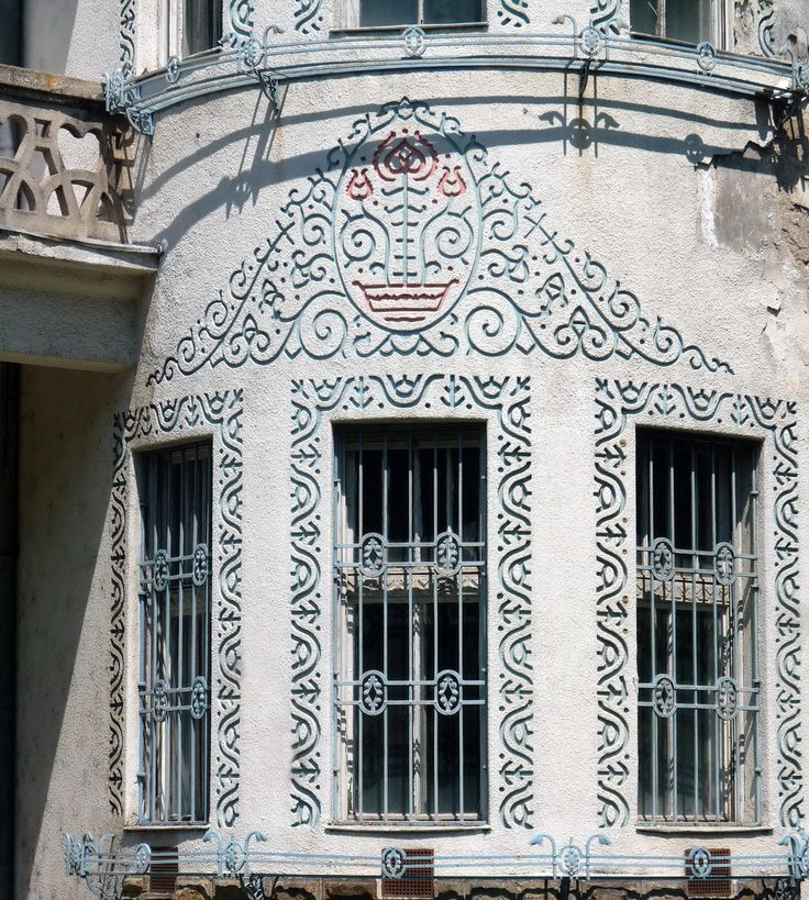 Hungary, Tatabánya, former club of Magyar Általános Kőszénbánya Rt. (Hungarian General Coal Mines Co.) People call it Tulip House after the stylized Hungarian-Transylvanian folk motifs in the ornamentations. Built in 1922, architect: Ede Torockai Wigand and Béla Jánszky. Torockai Wigand created a unique synthesis of Art Nouveau, Hungarian rural architecture and modern building technologies in the early 20th century.
