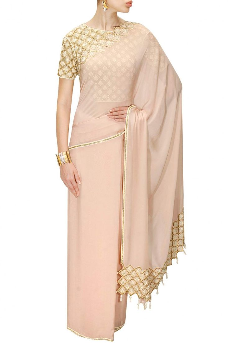 Pale pink cutdana work sari with embroidered blouse. available only at Pernia's Pop-Up Shop.