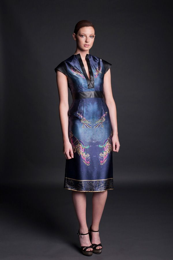 Jennifer Rothwell Leather and Silk Kells Space Mythology Dress