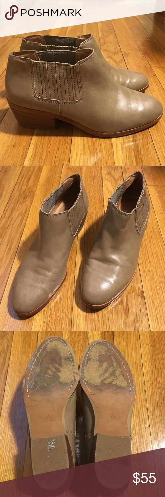 "Madewell Spencer Chelsea Boot in Mink (tan) Tan leather Chelsea boots from Madewell. Well loved but still in great condition. Small water mark (3rd pic) and tiny bit of stitching coming undone (first pic). Super cute booties and look adorable with skirts and jeans 👍🏼  Leather upper and lining. 3 1/8"" shaft height (based on size 7). 11 1/8"" shaft circumference (based on size 7). 2"" stacked heel. Man-made sole. Item C1375. Madewell Shoes Ankle Boots & Booties"