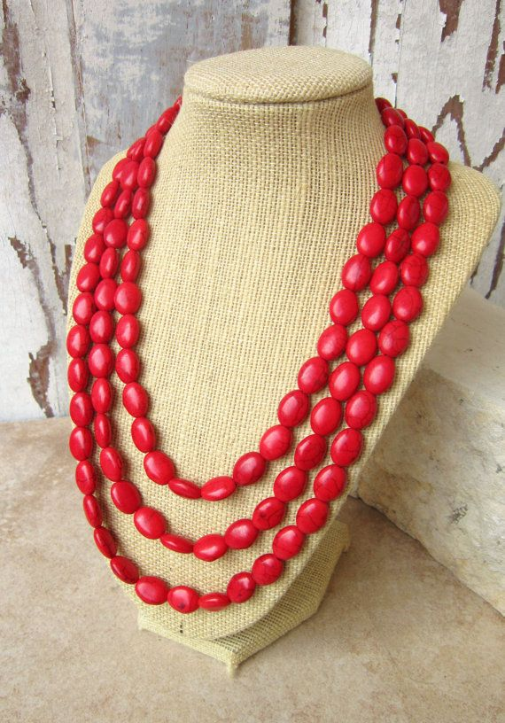 Red Turquoise Statement Necklace. Triple Strand Red Howlite Necklace. Adjustable Bib Necklace. Red Jewelry. Bridesmaid Jewelry