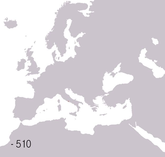 ROMAN EMPIRE: animated MAP shows RISE & FALL of Rome (via vox.com 5942585 2014-08-19) • 500BC Rome was city-state • by 27BC it was the EU/M.E./N African Empire • 700 years of Empire split E/W, W destroyed by Germanic tribes by 476AD, though E Constantinople remained for centuries longer...