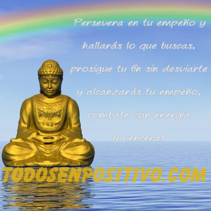 """""""Persevera en tu empeño y hallarás lo que buscas, prosigue tu fin sin desviarte y alcanzarás tu empeño, combate con energía y vencerás"""" - Buda"""