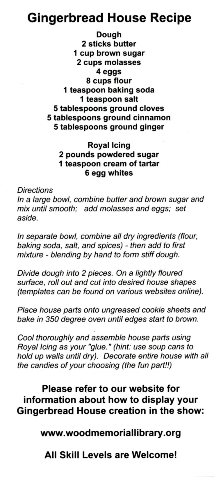 Gingerbread House Recipe used by some WML Friends for the 2011 Festival