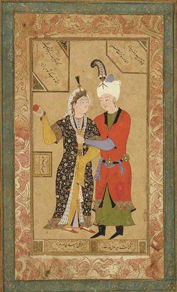 A prince and princess embrace   ca. 1550   Abdullah   Uzbek period   Ink, opaque…