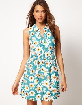 ASOS Shirt Dress In Daisy Print