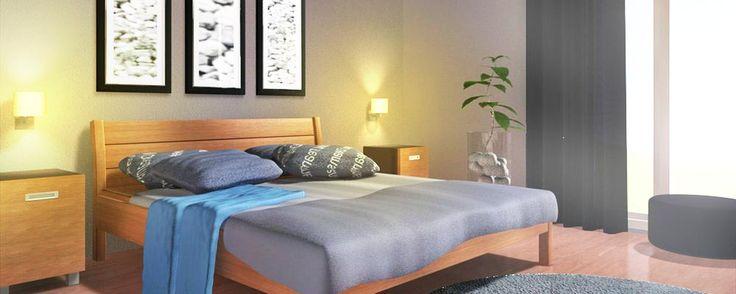 3d #impressie van slaapkamer met houten bed. Bruine en grijze kleuren.