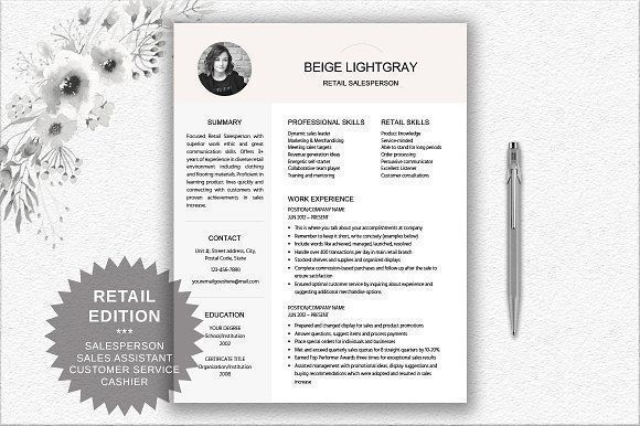 Resume Template Retail Salesperson by DocumentFolder on @creativemarket Professional printable resume / cv cover letter template examples creative design and great covers, perfect in modern and stylish corporate business design. Modern, simple, clean, minimal and feminine style. Ready to print us letter and a4 layout inspiration to grab some ideas. In psd, indd, docs, ms word file format. #resume #cv #template #professional #word #modern #creative #design