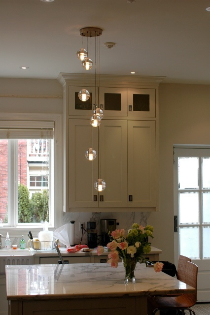 Bocci lights.  What a difference a gorgeous pendant makes to this kitchen island.