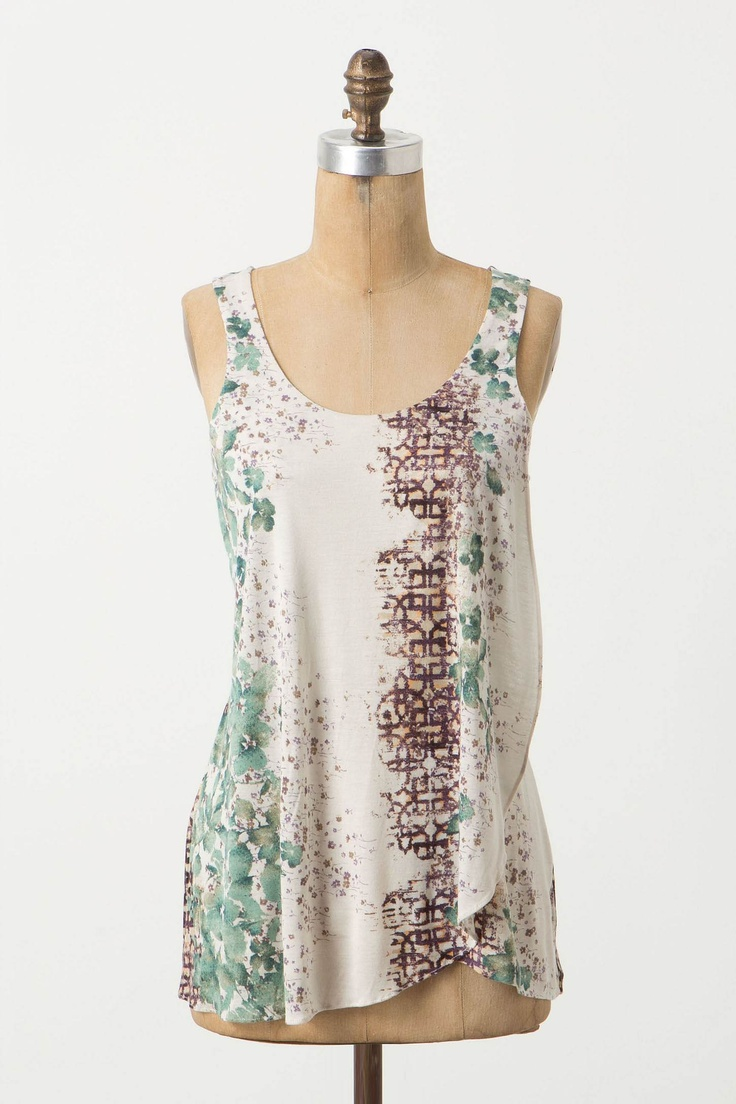 Ruffle side woven tank with button and keyhole back detail