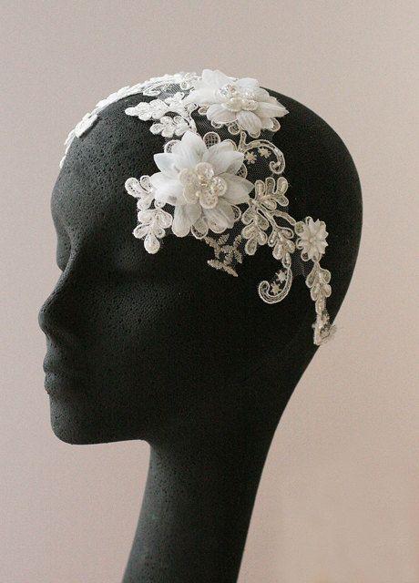 Leaf And Flower Headpiece, Grecian Headpiece, Rhinestones Headband, Bridal Headpiece, - BLOSSOM. $139.00, via Etsy.