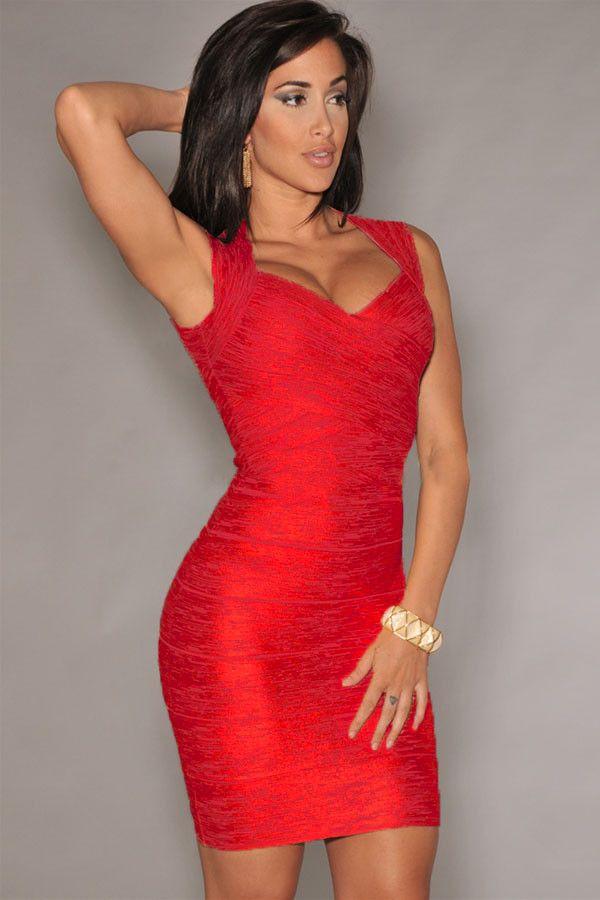 Hottest Trend Red Foil Print Bandage Celebrity Style Dress