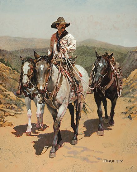 Fresh Horses for Cow Camp by Bill Moomey Oil ~ 40 x 34
