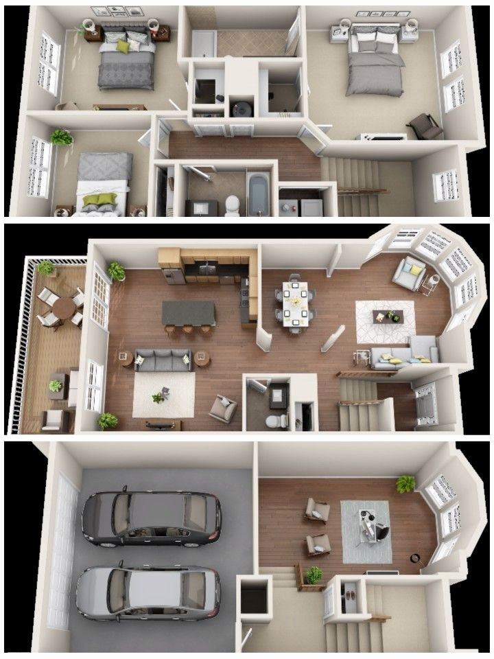 Three Bedroom Apartment Floor Plans Luxury Upstairs Living Room Kitchen Downstairs Basement Denah Rumah Denah Rumah 3d Arsitektur Rumah