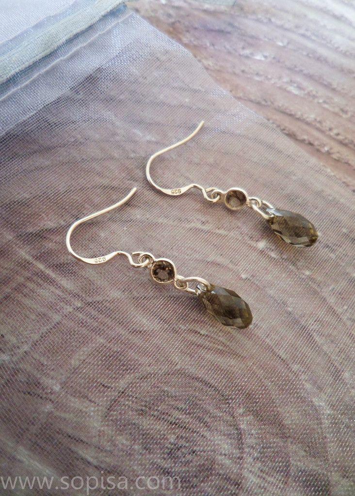 Ofelia Dangle Earrings - Sopisa #dangleearrings #earrings #swarovski #swarovksiearrings #smokeyquartz #smokeyquartzearrings
