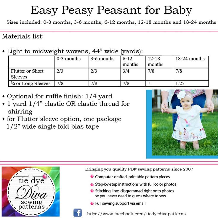 Image of Easy Baby Peasant Dress Pattern - Flutter, Short, Long Sleeve