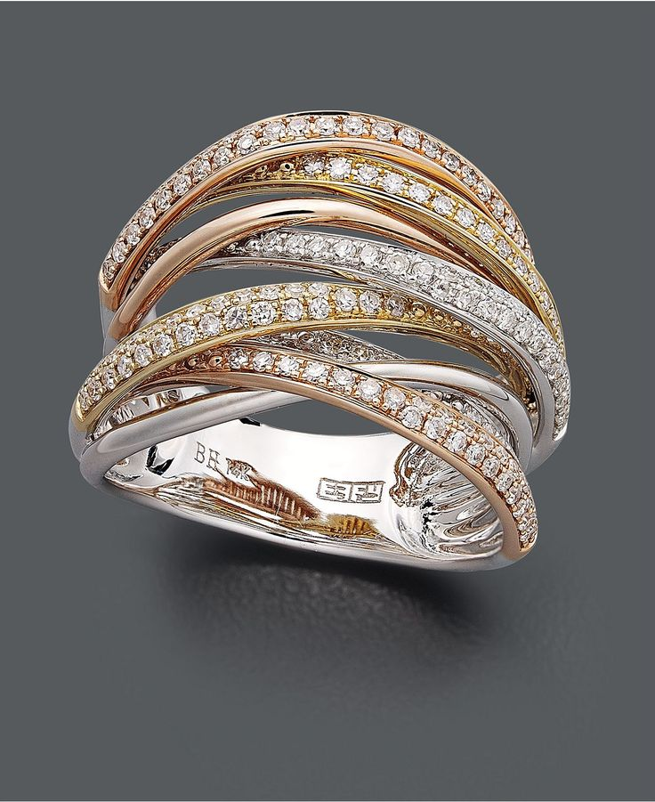 Trio by Effy Collection Diamond Ring, 14k Gold, White Gold and Rose Gold Diamond Overlap