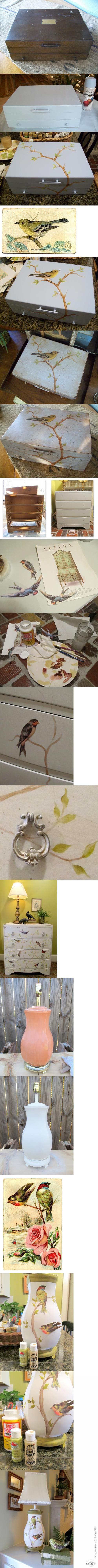 Декупаж - Сайт любителей декупажа - DCPG.RU   Птичьи проекты от Линди: короб, комод и лампа