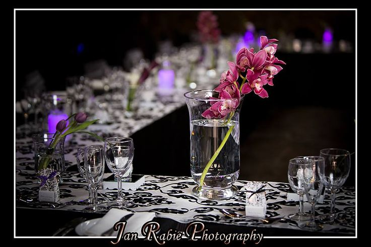 Hurricane Vases, Glass Beads, LED Candles and Orchids - need I say more...