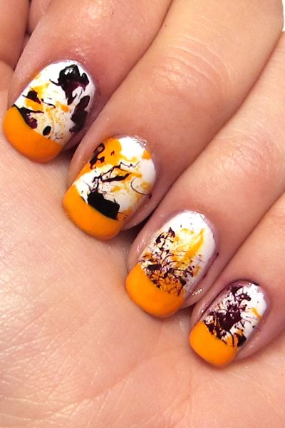 jackson pollockNails Art Tutorials, Splatter Naildesigns, Graffiti Nails, Art Ideas, French Tips, Colors French, Jackson Pollock, Halloween Ideas, Halloween Nails