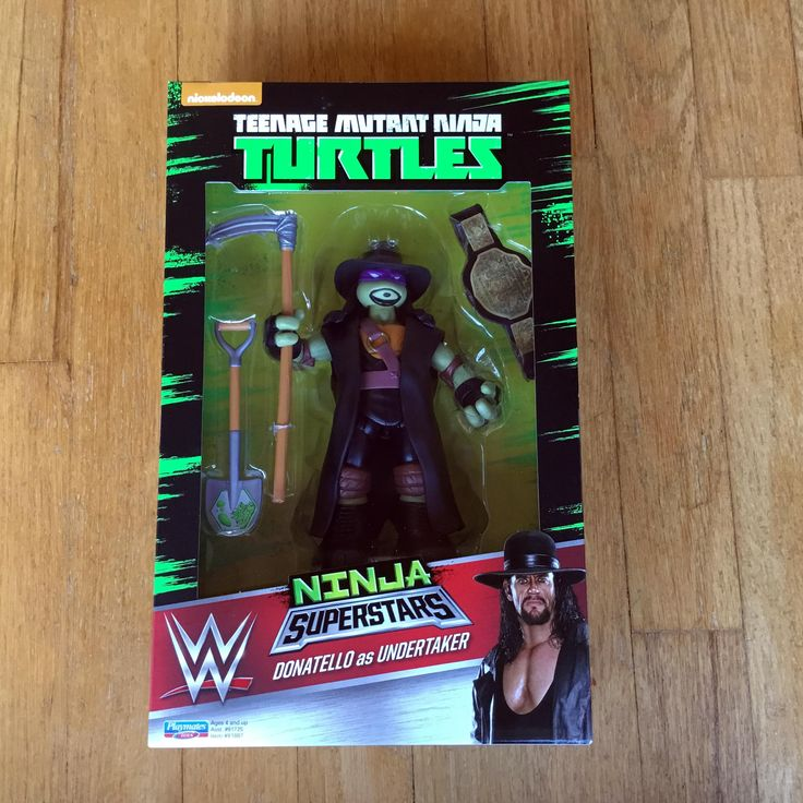 2016 Teenage Mutant Ninja Turtles Playmates Toys / World Wrestling Entertainment (WWE)  Ninja Superstars  WALMART EXCLUSIVE  Donatello as UNDERTAKER This one is my personal favorite out of all 4 issued. The overall design and style stands out above all others.   New in Box (NIB) Sealed Directly from Playmates Toys via Pre-order from Ringside Collectibles, Inc  RIP MACHO MAN WE LOVE YOU BROTHER